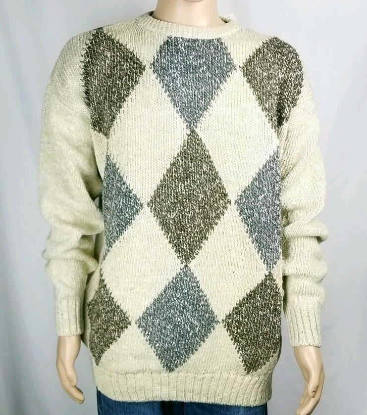 Fieldmaster Thick Knit Sweater Crew Neck Taupe with Diamond Argyle Pattern NEW