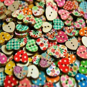 100-Pcs-Mixed-2Holes-Wooden-Buttons-Cartoon-Print-Heart-Scrapbookin-New-Sha-A0E1