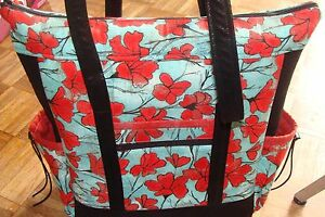 New, Homemade Professional Tote Bag Red Poppies, Teal, Black Faux Leather