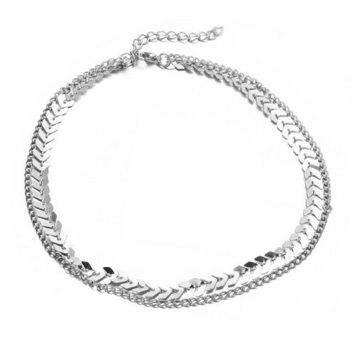 Fashion Women Double Layer Choker Necklace Arrow Wave Chain Necklace Jewelry