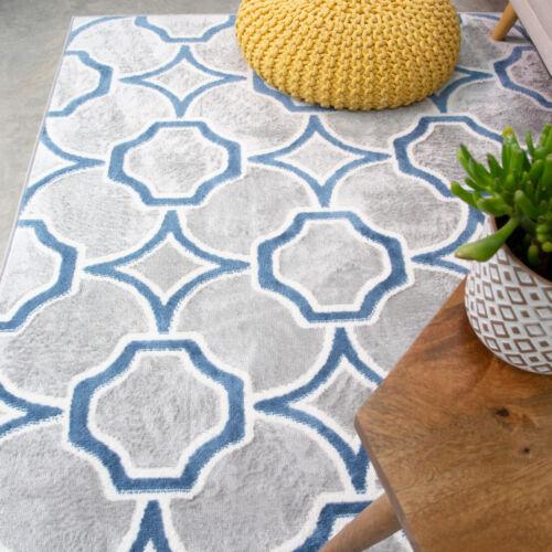 Blue Grey Moroccan Living Room Rug Small Large Trellis Area Rugs Hallway Runner