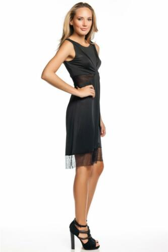 BCBG Max Azria Minette Dress Black Lace Cocktail Sleeveless Round Neck Satin NEW