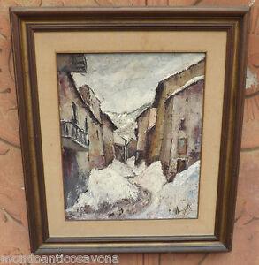 Dipinto-quadro-olio-con-cornice-paesaggio-innevato-firmato-Marchetti