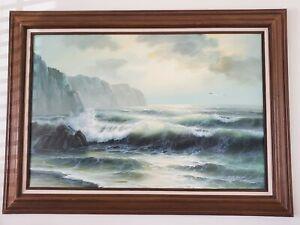 Coastal Sea View Oil Painting On Canvas 24 X 36 Framed Signed MATT THOMAS