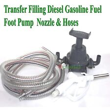 Transfer Refilling Gasoline Diesel Fuel Foot Pump Kit Amp Manual Nozzle With 6 Hose