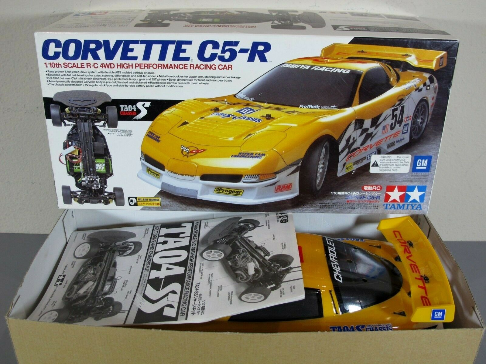New Open Box Tamiya 1 10 R C Corvette C5-R TA04-S Belt Drive Finish Body