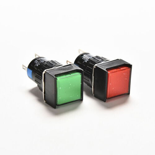 16mm 12V Push Button Self-Reset Switch Square LED Light Momentary Latching DSUK