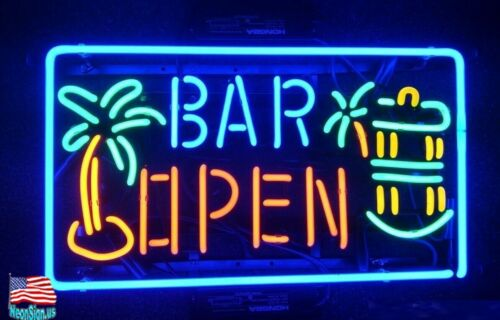 """Wine Palm Tree Open Rum Whiskey 20/""""x14/"""" Neon Sign Lamp Bar With Dimmer"""