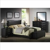 Upholstered Bed Frame W/ Headboard Faux Leather Full Queen King Size Sizes