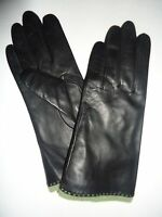 Ladies Genuine Leather Gloves ,m , Black
