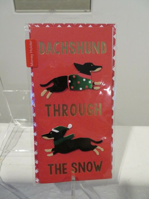 Dachshund Through the Snow Christmas Holiday Money Holder Greeting Card NEW