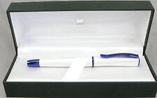 Monteverde Impressa Pearl Silver & Blue Trim Fountain Pen - Fine Nib - New