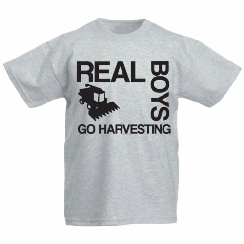 Childrens Farming T-Shirt Kids Tractor REAL BOYS GO HARVESTING Farmer