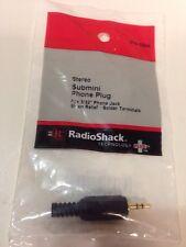 RadioShack 274-298 ~ 3//32 2.5mm Male Stereo Submini Right-Angle Phone Plug