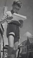 1960 Vintage 8x10 CUTE FRENCH BOY Reading Studying Outdoors Photo ~ JOS LE DOARE