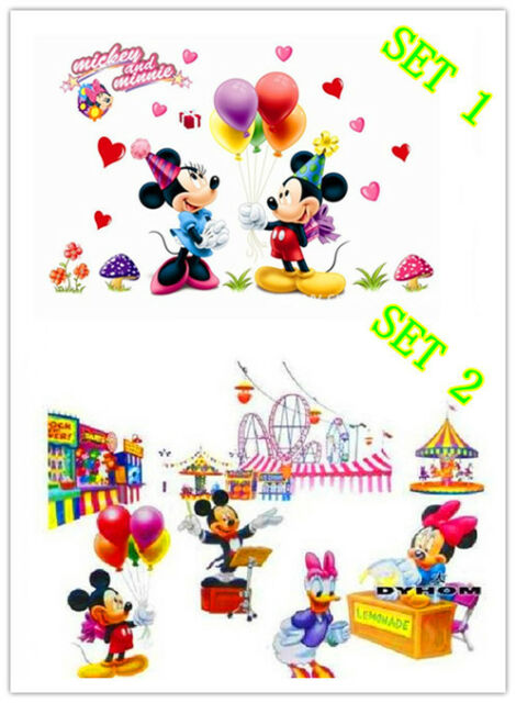 2 SET DISNEY MICKEY & MINNIE REMOVABLE WALL STICKER DECAL KID ROOM NURSERY DECOR