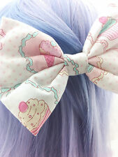 Pastel Ice Cream & Cupcakes Kawaii Printed Large Hair Bow