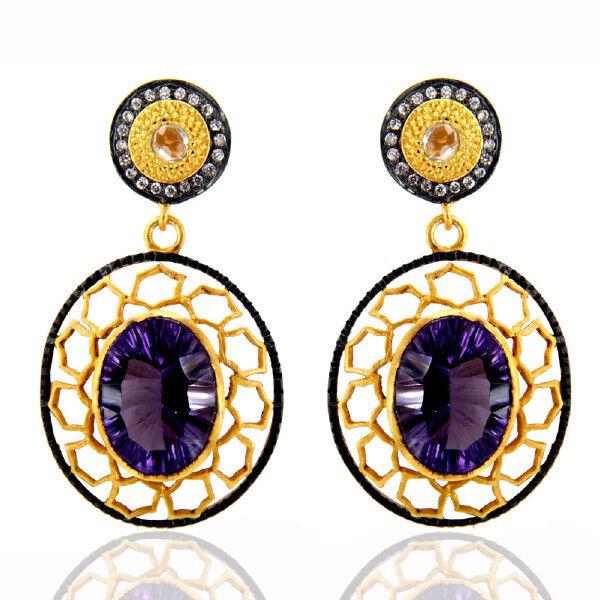 18K Yellow Gold Plated Brass Hydro Amethyst CZ Designer Dangle Earrings Jewelry