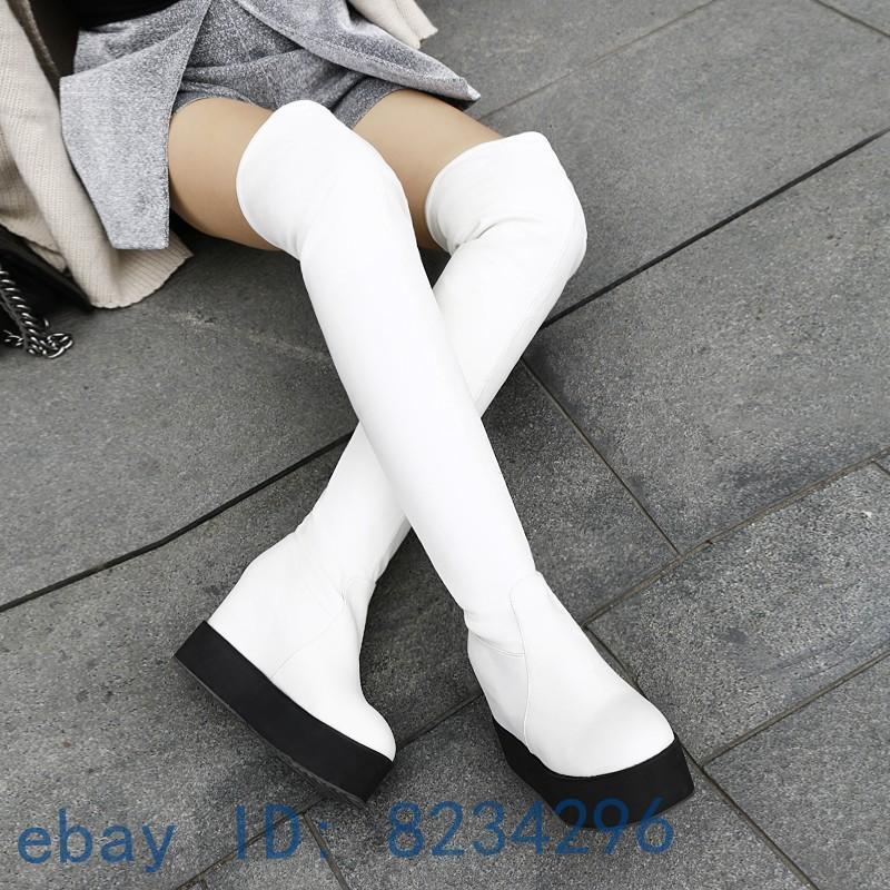 Mode Damenschuhe Plateau Wedge Overkneestiefel Runde Zehe Booots Gr33-43