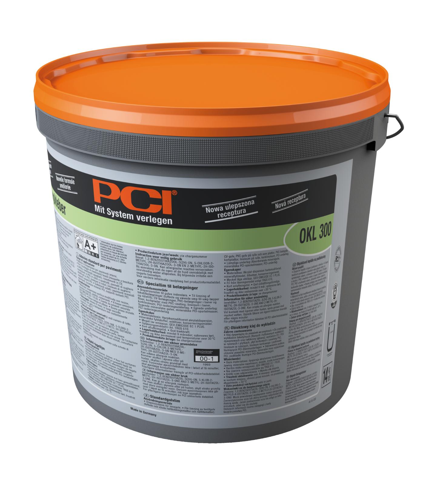 PCI Okl 300 Objekt-Belagskleber Dispersionsklebstoff Böden im Innenbereich 14 kg