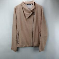 Lisa Rinna Collection Asymmetric Zip Front Knit Jacket Color Blush Size L