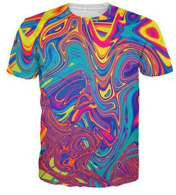 Oil Spill Psychedelic Swirl of Vibrantfor  3D Printed Women//Men/'s T-Shirts