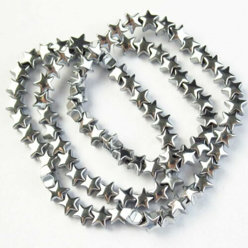 6x6x3mm Carved Silver Hematite Star Pendant Loose Bead 15.5 inch 415TS
