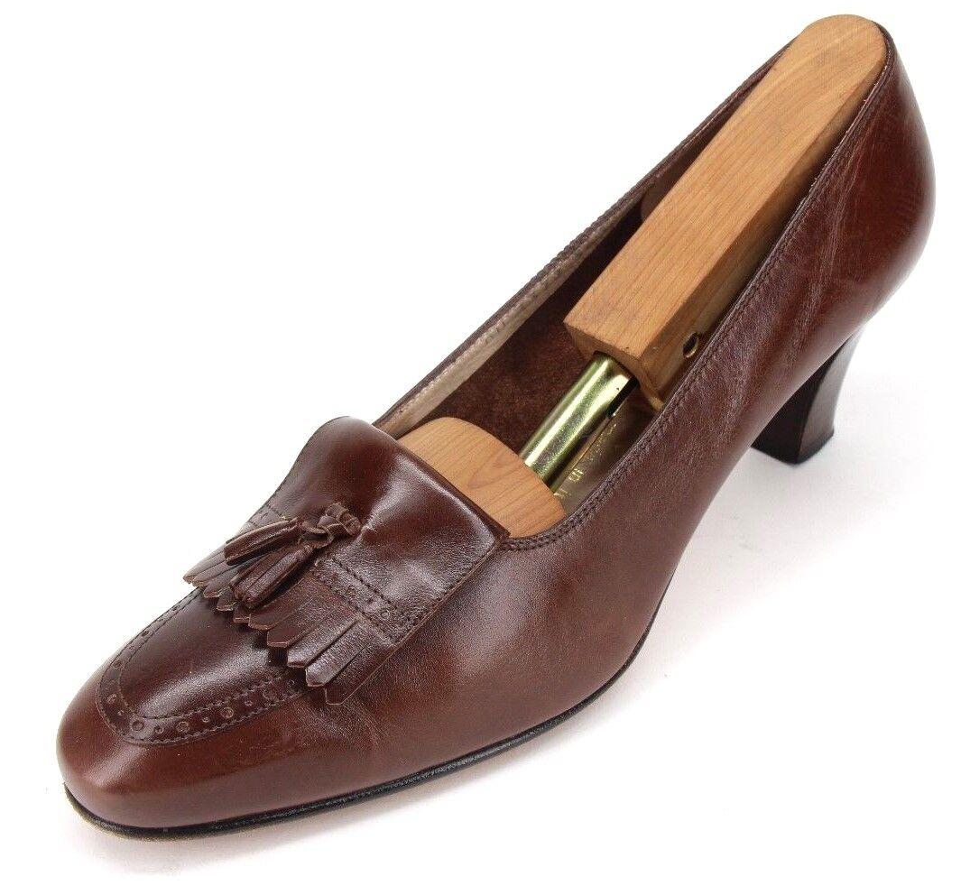 Salvatore Ferragamo Boutique Braun Leder Kilte Tassel High Heels Pumps 8.5 AA