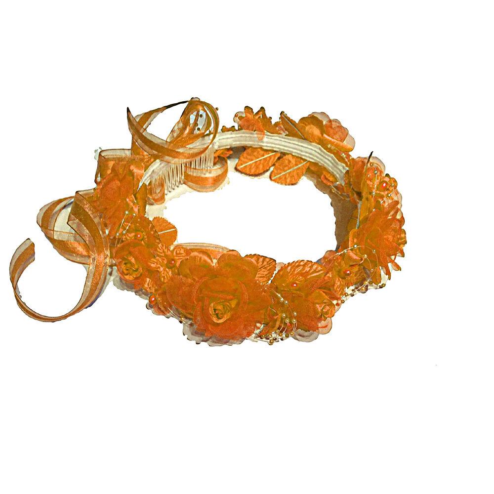Wedding Silk Flower Band Halo Flower Girl Head Piece Solid Color - Peach