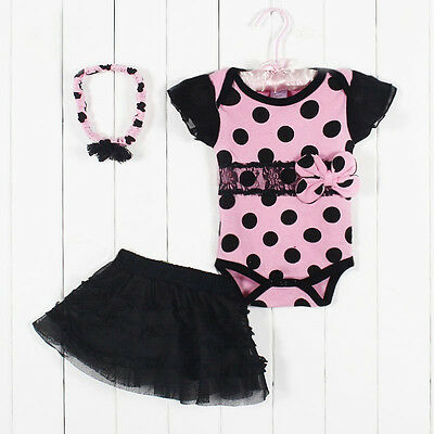 3pcs Girl Baby Newborn Romper Bodysuit Tutu Skirt Headband Set Outfit Clothes