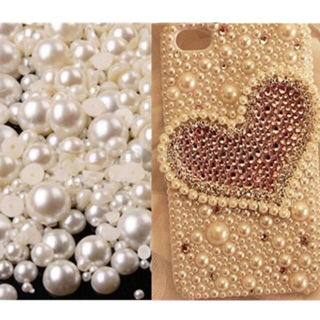 1000PCS 8mm Ivory Half Round Flatback Pearl Bead Nail Art PPYU DIY SALE S