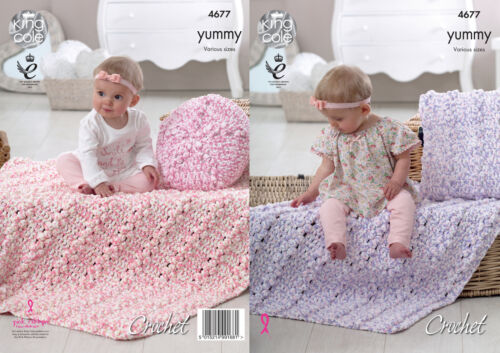 Crochet Pattern Baby Blankets /& Cushion Covers King Cole Yummy Chunky 4677