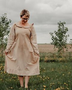 Vintage-Prairie-Cotton-Dress-Long-Sleeves-Peter-Pan-Collar-Large