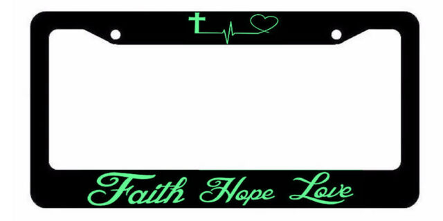 Faith Hope Love Symbol Heart Cross Christian Jesus License Plate