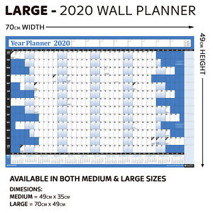 Details About 2019 Laminated Yearly Wall Planner Calendar Wipe Dry Pen Sticker Dots Blue