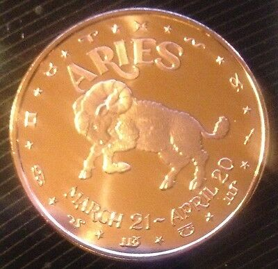 APRIL 20 1 OZ COPPER ROUND ZODIAC SIGN ARIES MARCH 21