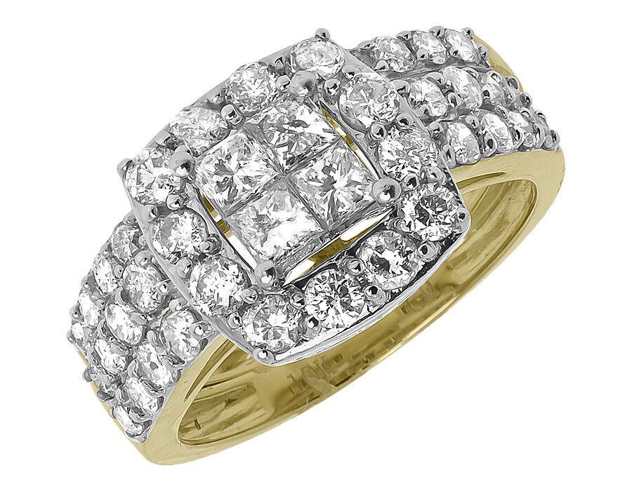 10k Yellow gold Ladies Princess Diamond Bridal Wedding Engagement Ring Set 2 ct