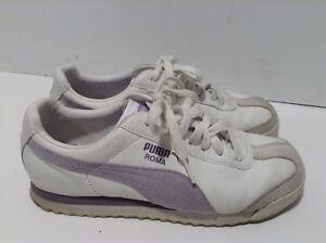Puma Roma Womens 7.5 EUR 38 White Purple Athletic Sneakers  3b585b339