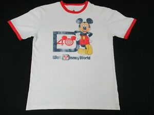 Parques-de-Disney-40TH-Aniversario-Mickey-Mouse-Rojo-XL-para-mujer-ringer-t-shirt-D1186