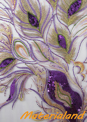 NEW Purple Peacock Feather Pattern Sequined & Embroidered On Mesh Fabric