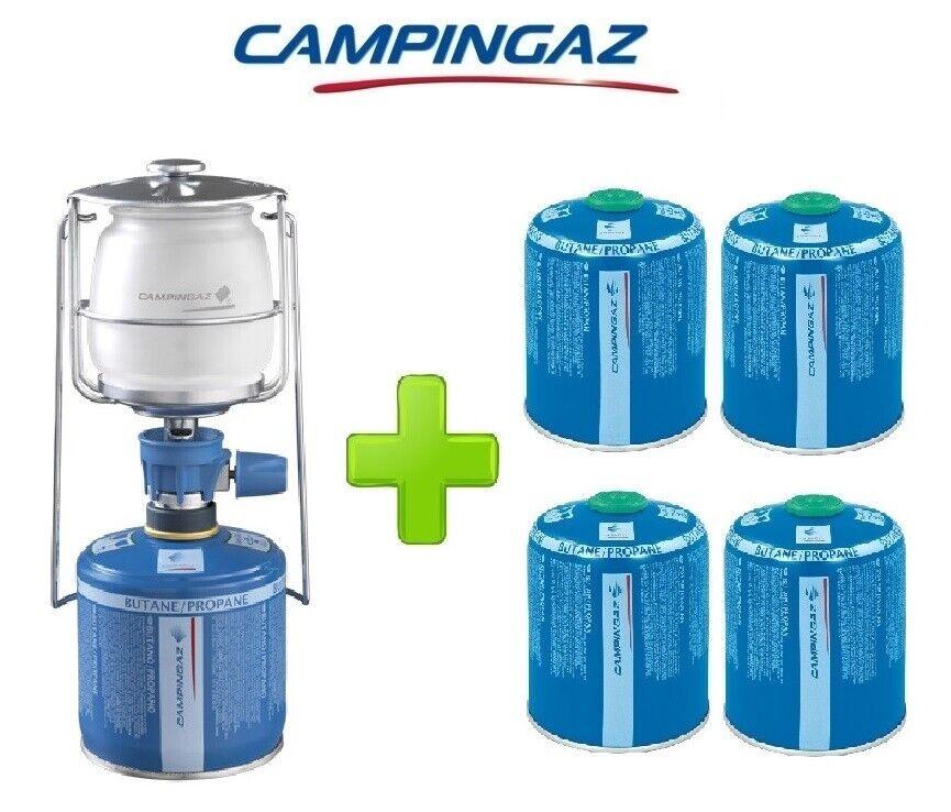 LAMPADA LANTERNA GAS LUMOGAZ PLUS CAMPINGAZ 80 WATT + 4 PEZZI CARTUCCIA CV470