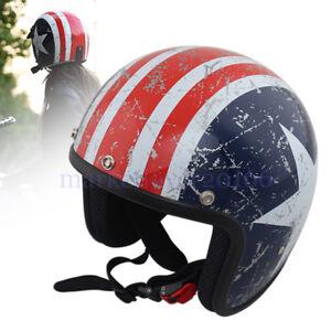 Men Women Motorcycle Helmet 3/4 Open Face Vintage Jet Retro Racing Helmets XL