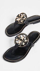 NIB-Tory-Burch-Metal-Miller-Leather-Thong-Sandal-BLACK-Gold-US-9-5-AUTHENTIC