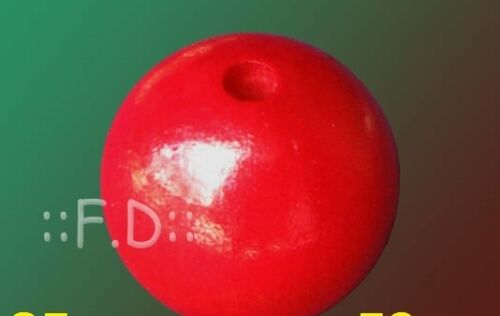 40MM WOODEN BEADS RED COLOUR ROUND WOOD CRAFT BEAD PACK 50psc