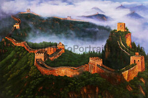 The-Great-Wall-Of-China-Original-Landscape-Oil-Painting-on-Canvas-36-034-x-24-034