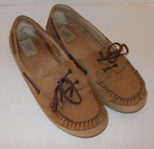 e30d2125c8f Details about UGG Australia Lace Up Flats Loafers Mocs Tan Leather Shoes  Size 10