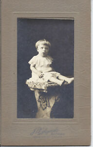 32P-Vintage-Cabinet-Photo-Barefoot-Baby-w-Bowl-Haircut-Sits-on-Pedestal-Chicago