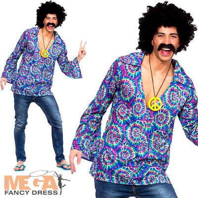 Chemise homme Groovy Hippie Funky top 60/'s 70/'s fancy dress Hippie Adulte M-XL NEUF