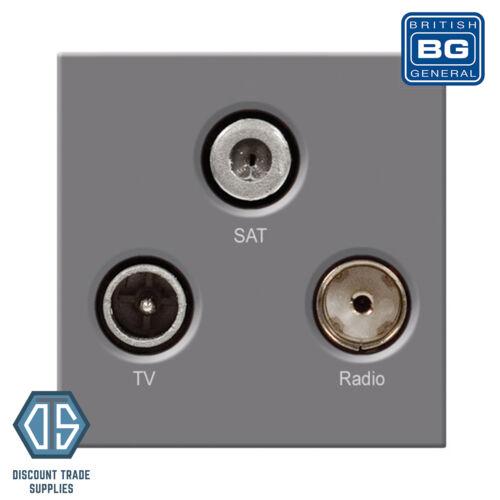 BG Screwless en acier brossé TRIPLEX TV FM Satellite Blindé Prise gris FBS67