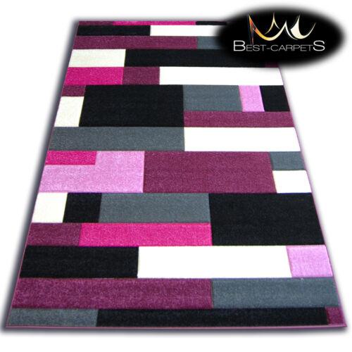 THICK MODERN RUGS /'PILLY/' CARPETS ORIGINAL PURPLE BLACK GEOMETRIC CHEAP Carpet